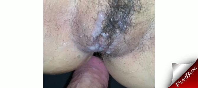 Minha puta com a buceta cheia de porra